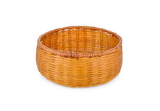 Empty bamboo basket on white background Royalty Free Stock Photos