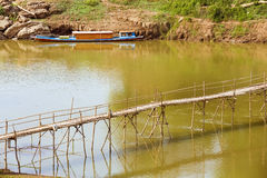 Empty bamboo bridge, luang prabang, laos Stock Images