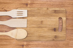 Empty bamboo cutting board Stock Photos