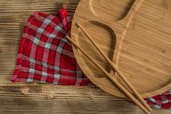 Empty bamboo plate. Stock Image
