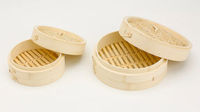Empty bamboo steamer basket Royalty Free Stock Photography