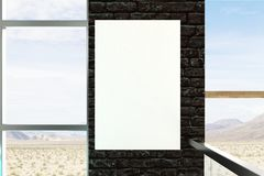 Empty banner on brick wall. In interior with panoramic landscape and sky view. Mock up, 3D Rendering Royalty Free Stock Photos