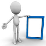 Empty banner figure. A 3d figure holding a board with blue frame, empty board for your custom text message Royalty Free Stock Images