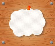 Empty banner on lined notebook paper on Wooden drawn background Stock Image