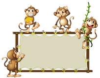 An empty banner with monkeys Stock Images