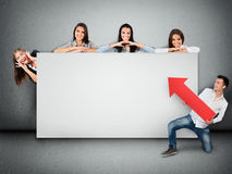 Empty banner with people Stock Photos