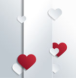 Empty Banner with Red and White Heart Shapes Stock Image