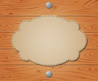 Empty banner on Wooden drawn background Stock Images