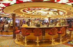 Empty bar in casino. Empty luxury cruise ship casino and bar stock image