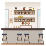Empty Bar or Pub Interior Flat Vector Illustration. Restaurant, Pub or Cafe Bar Flat Vector Interior with Stools at Counter, Shelves with Alcohol Bottles, Photo royalty free illustration