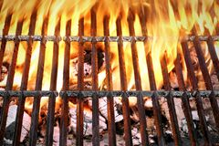 Empty Barbecue Grill With Bright Flames Closeup  Top View Stock Photography