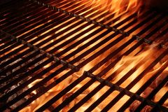 Empty Barbecue Grill With Flames and Copy Space Royalty Free Stock Photos