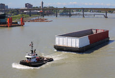 Empty Barge, Fraser River, British Columbia Royalty Free Stock Image