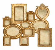 Empty baroque frame with canvas for photo and picture. Antique golden framework isolated on white background. empty baroque frame with canvas for photo and stock image