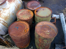 Empty barrels in the Arctic environmental pollution Royalty Free Stock Images