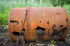 Empty barrels in the Arctic environmental pollution Royalty Free Stock Photography