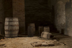 Empty Barrels. Sitting in a dark room stock images
