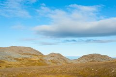 Empty barren mountain landscape in Nordkapp, Norway. Empty barren mountain landscape in Nordkapp, Finnmark county, Norway Royalty Free Stock Photography