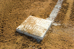 Empty base on baseball field Royalty Free Stock Images