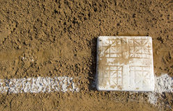 Empty base on baseball field Royalty Free Stock Photos
