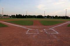 Empty Baseball Diamond at Dusk Royalty Free Stock Images