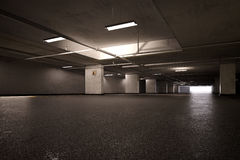 Empty basement parking lot Stock Photo