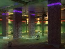 Empty basement room interior. Concrete floor, walls of red brick. Neon lights of the room. Sewer pipes in home basement royalty free illustration