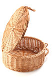 Empty basket. With cover, isolated on white Stock Photo