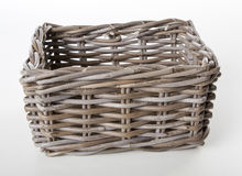 Empty basket. Side view of an empty wood basket  on white background Royalty Free Stock Image