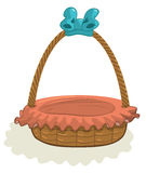 Empty Basket with blue ribbon Royalty Free Stock Photo