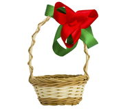 Empty basket with a bow. On the white isolated background Stock Photos