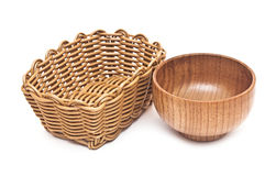 Empty basket and bowl Stock Image