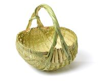 Empty Basket. Isolated on white with clipping-path Royalty Free Stock Photos