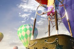Empty basket hot air balloon. ready for photomanipulation. Empty basket hot air balloon beautiful background royalty free stock photography