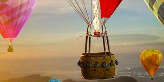 Empty basket hot air balloon. ready for photomanipulation. Empty basket hot air balloon beautiful background stock photo