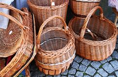 Empty Basket. Image of empty baskets outside a shop Royalty Free Stock Images
