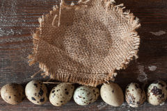 Empty basket with line of quail eggs flat lay Royalty Free Stock Photography