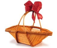 Empty basket with ribbon. Series..... Christmas basket isolated over white background Stock Image