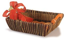 Empty basket with ribbon. Series..... Christmas basket isolated over white background Stock Photo