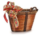 Empty basket with ribbon. Series..... Christmas basket isolated over white background Royalty Free Stock Image