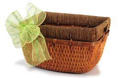Empty basket with ribbon. Series..... Royalty Free Stock Photos