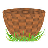 Empty Basket Standing On A Green Grass Royalty Free Stock Photography