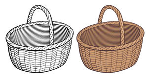 Empty basket. Empty wicker basket. Stylized handdrawn vector illustration, outline and colored version. Isolated on white royalty free illustration