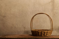 Empty basket on wood Royalty Free Stock Photography