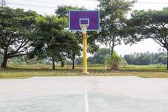 Empty basketball court hoop net Royalty Free Stock Image