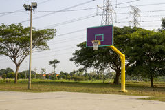 Empty basketball court hoop net Royalty Free Stock Photography