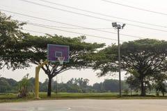 Empty basketball court hoop net Stock Images