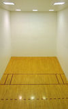 Empty Basketball Court Interior. Large empty basketball court with a wooden floor and white wooden tile walls with square lights on the ceiling and lots of open Royalty Free Stock Photography