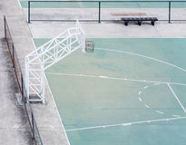 Empty basketball field with the old fence. Royalty Free Stock Photos