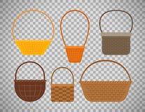 Empty baskets on transparent background. Empty baskets isolated on transparent background. Osier wicker picnic vector basket set Stock Photography